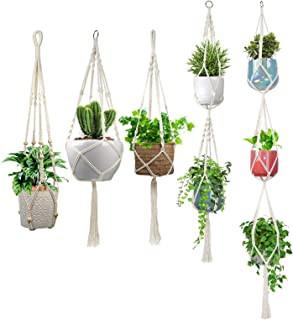 alladinbox 5 pcs macrame plant hanger inch indoor outdoor hanging planter basket flower pot holder cotton rope 4 legs suitable for pots up to 8 inches in diameter(plant & pot not included)
