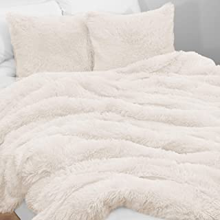 KB & Me Boho Off White Fuzzy Faux Fur Plush Duvet Comforter Cover and Sham 3 pc. Soft Shaggy Fluffy Full/Queen Size Beddin...