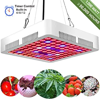 GreensIndoor LED Grow Light 1000W Full Spectrum Plant Grow Lights for Indoor Plants with Timer 4/8/12H