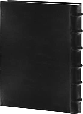 """Pioneer Sewn Bonded Leather BookBound Bi-Directional Photo Album, Holds 300 4x6"""" Photos, 3 Per Page. Color: Black."""