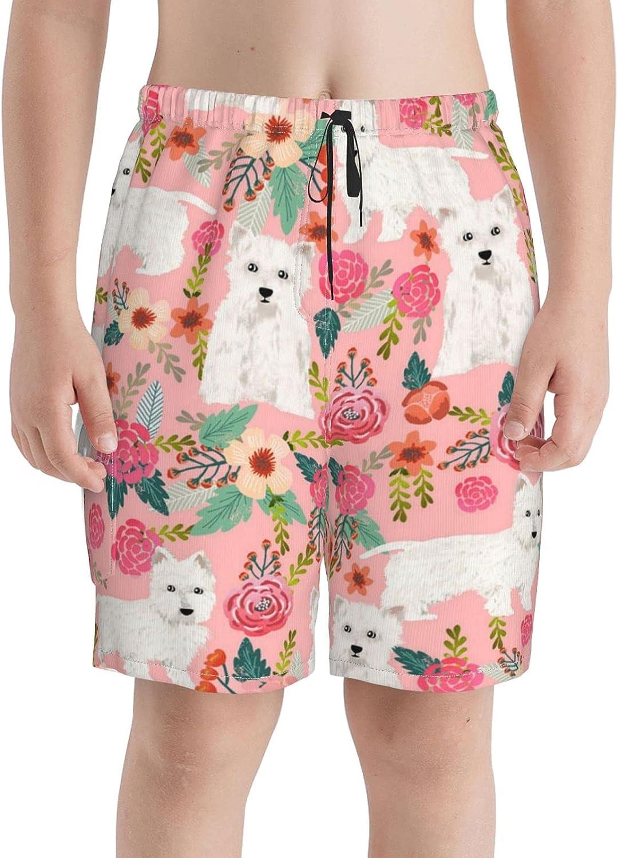 Westie Floral Boys discount Swim Trunks Sho Teens online shopping Beach Boardshorts