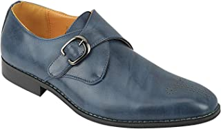 Formale Scarpe in Pelle Monk Strap Classic Single Uomo Casuale Chic in Nero Abbronzatura Blu