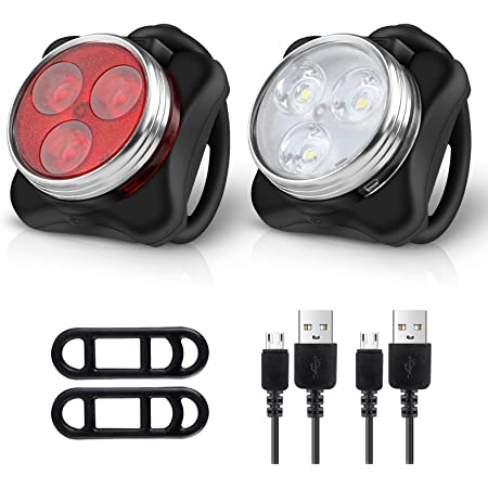 Ascher Rechargeable LED Bike Lights Set - Headlight Taillight Combinations LED Bicycle Light Set (650mah Lithium Battery, 4 Light Mode Options, 2 USB cables)