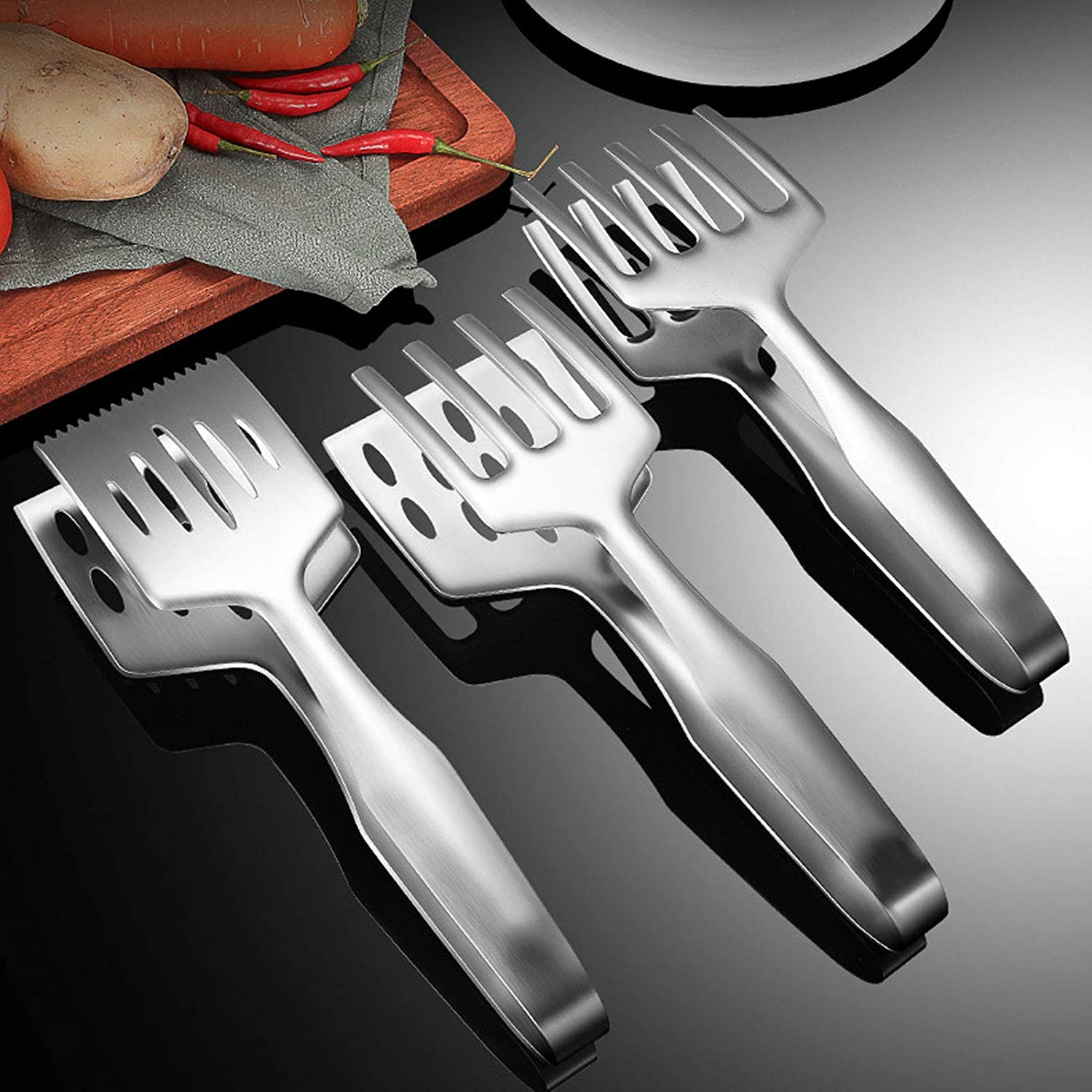 HOUJIA Kitchen Max 59% OFF Tongs 2 Clamp Stainles Steak Ranking TOP10 Pieces
