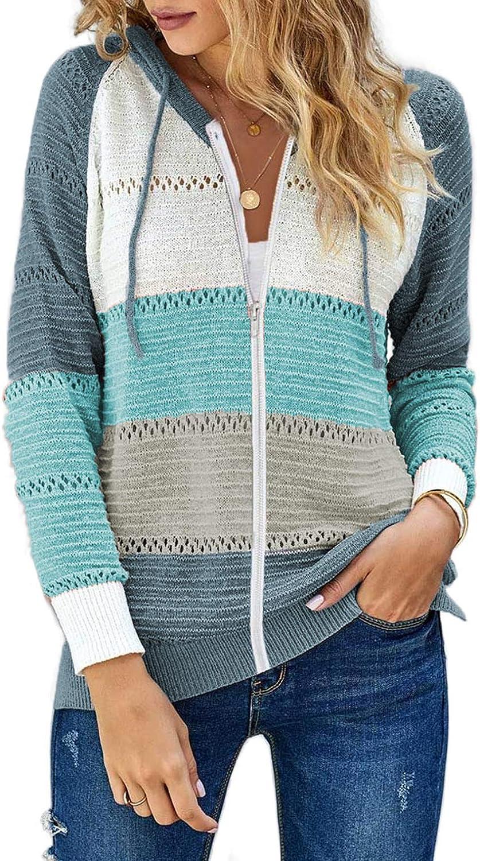 Shawhuwa Womens Long Sleeve Hooded Sweatshirt Hoodies Zip Up Jacket Lightweight Jackets with Hood