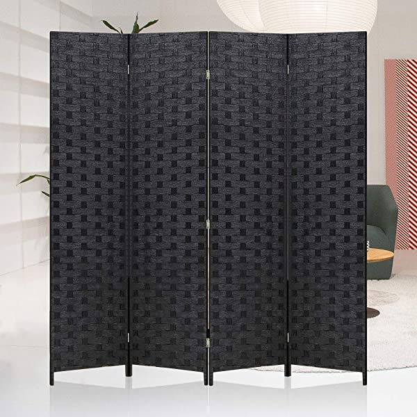 Meet Perfect Room Divider Privacy Screen 6 FT Wooden Woven 4 Panel Folding Screen Foldable Panel Mesh Partition Wall Divider Freestanding Room Dividers Double Weaved With Two Way Hinges Black