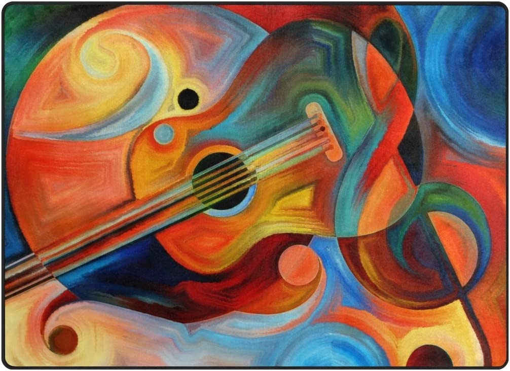 My 格安SALEスタート Little Nest Oil Painting 日本正規代理店品 Guitar Music Note Area Rug and 4'10