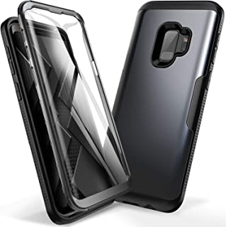 YOUMAKER Galaxy S9 Case, Metallic Black with Built-in Screen Protector Heavy Duty Protection Shockproof Slim Fit Full Body Case Cover for Samsung Galaxy S9 5.8 inch (2018) - Black/Black