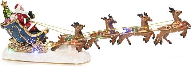 Konstsmide - Adorno navideño de Papá Noel en Trineo con Reno, Funciona con 3 Pilas AAA (Excepto Diodos Multicolor de Escena navideña
