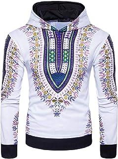 Mogogo Men's African Dashiki Printing Hooded Casual Outwear Sweatshirts