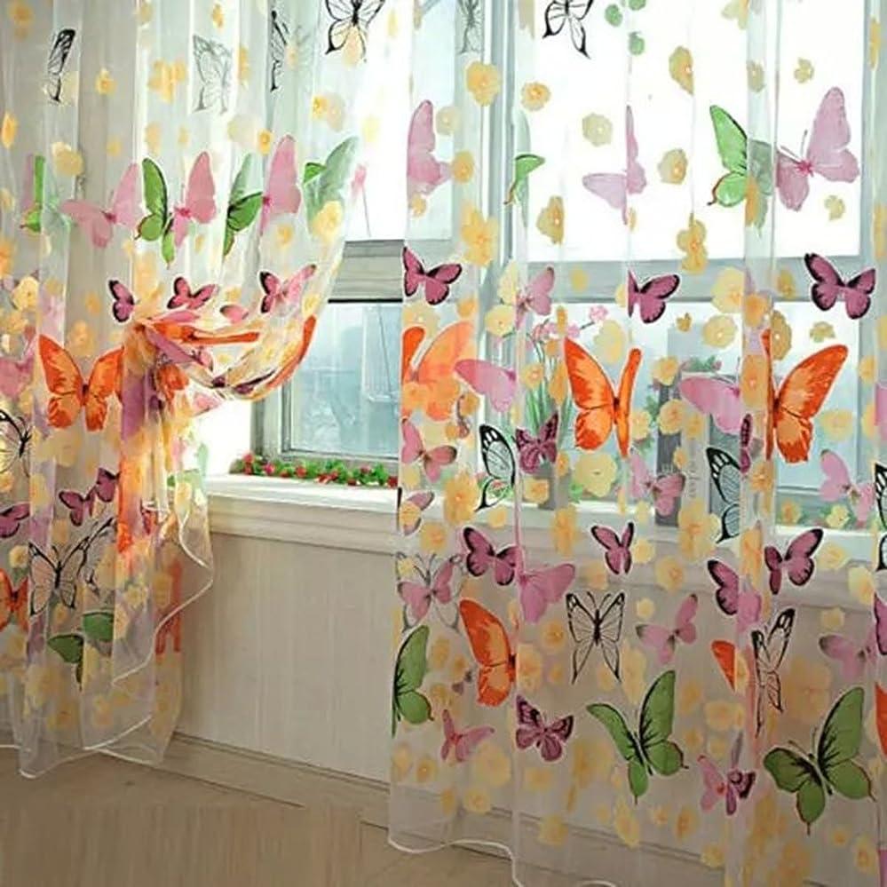 郡鉄道所有者高品質 ドアカーテン チュール 薄手カーテン 装飾 窓 ボイルカーテン 蝶々 100*200cm