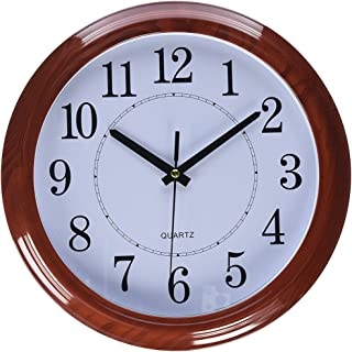 Tebery Imitation Wooden Design Decorative Wall Clock Non-Ticking Digital European Retro Clock 13 Inch