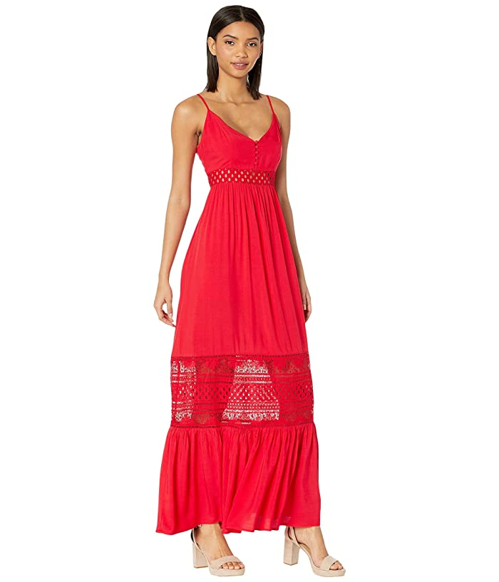 Jack by BB Dakota Kaia Midi Dress with Stripe Lace Insets (Poppy Red) Women