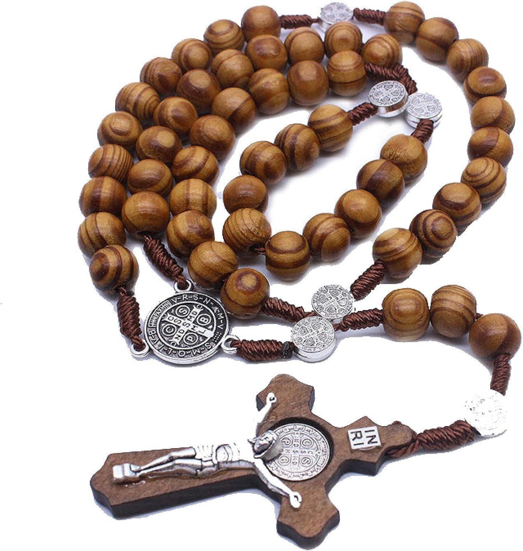 Handmade Round Wooden Beads Rosary Necklaces Cross Pendant for Women Religious Jesus Jewelry