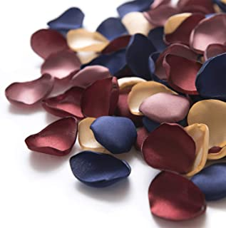 Ling's moment Silk Rose Petals Burgundy Navy 200PCS Flower Petals Flower Girl Scatter Petals for Wedding Table Centerpieces Party Dinner Table Decoration
