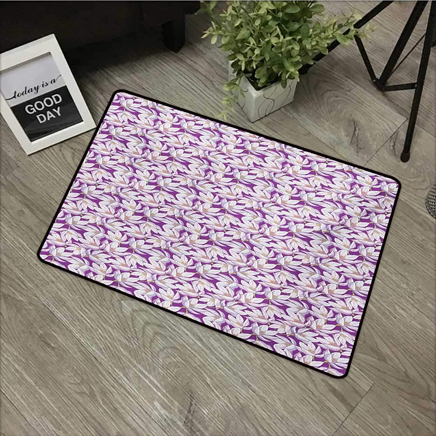 Pool Anti-Slip Door mat W35 x L59 INCH Floral,Blossoming Nature Themed Vintage Romantic Spring Bouquet Illustration,Fuchsia White Yellow Non-Slip Door Mat Carpet