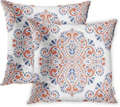 Emvency Set of 2 Throw Pillow Covers Decorative Cases Blue and Orange on Paisley Traditional Turkish Indian Motifs Great 18x18 Inch Cover Cushion Pillowcase Square Case Print