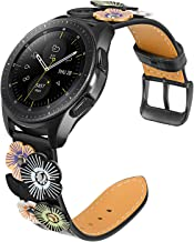 for Samsung Galaxy Watch 42mm / Active 2 40mm 44mm Women Band, TRUMiRR 20mm Flower Genuine Leather Watchband Quick Release Strap Black Buckle Wristband for Garmin Vivoactive 3, TicWatch E