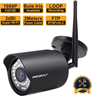 Outdoor WiFi IP Security Camera 1080P - GENBOLT Wireless Waterproof Home Surveillance HD CCTV Night Vision Bullet Camera, Motion Detection Email Alert, 50 Feet Night Vision, Adjustable Bracket, 64GB Storage Slot, 36pcs High Quality IR LED, 3 dBi Antenna, 3.6mm Wide View Angle Megapixel Lens, Automatically Recording,IP66 Weatherproof Heavy-Duty Housing, 1000+ Instagram Likes, 24-Hour Customer Support, 30-Day Money Back Guaranteed, 2-Year Warranty (1080P)