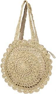 Handmade Straw Tote Summer Beach Bag Shoulder Woven Handbag for Women and Girls