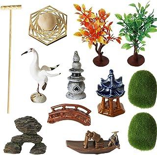 Zen Garden Accessories Tools Kits - Miniatures Sandbox Mini Rake Stamp Decorations Office Tabletop Sand Garden Rocks Plant...