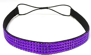 WigsPedia Rhinestone Crystal Stretch Headband 4-Row Head Piece Elastic Hair Band for Women (Purple)