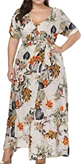Eternatastic Womens Floral Print Maxi Dress V-Neck Slit Wrap Long Beach Dress Plus Size