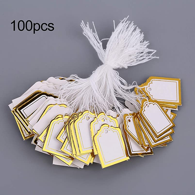 Square Shape 100 Pcs/Kit Price Tags with String Silver/Golden Merchandise Cloth Label Jewelry Strung Pricing Store Accessories kw733261019
