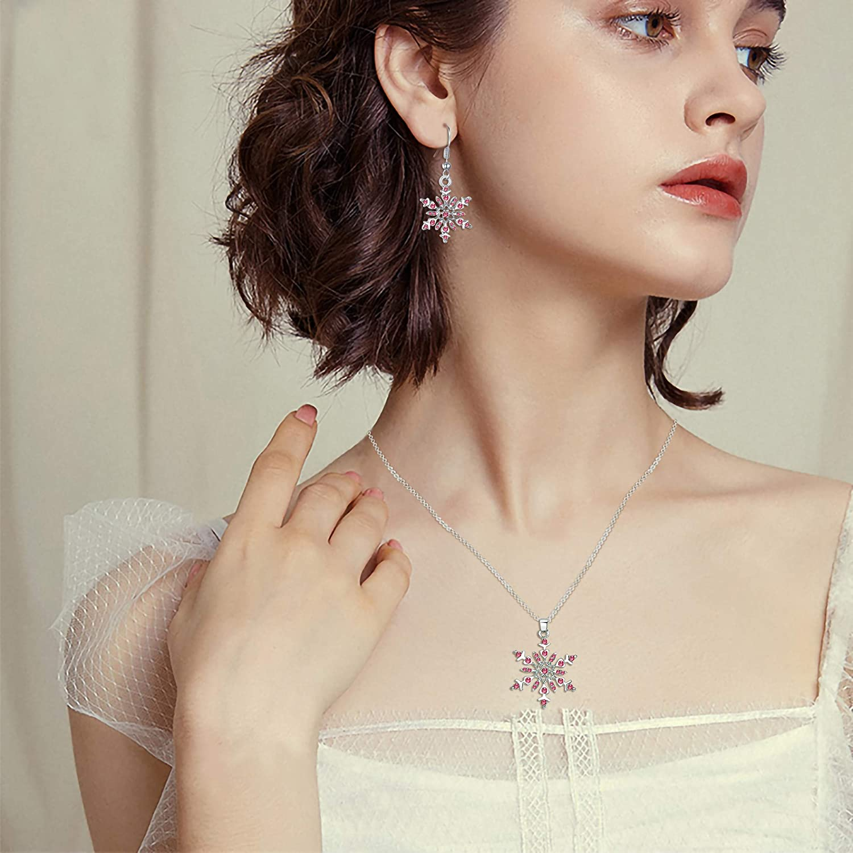 Clearine Parure Flocon de Neige D/élicat Femme Collier Boucles doreilles Ensemble Cristal Strass Bijou Hivernal Cadeau No/ël