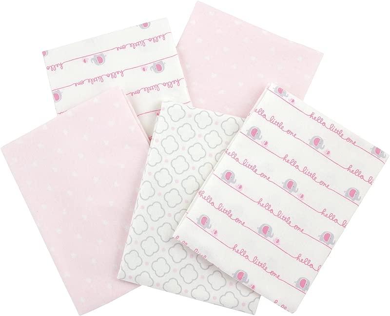 Gerber 100 Cotton Receiving Blankets Pink Flannel 5 Count