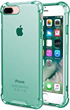 Speira iPhone 8 Plus/iPhone 7 Plus Transparent Case with Reinforced Corners, [Anti-Discoloration] [No-Slip Grip] (Mint)