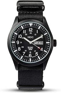 MDC Mens Waterproof Military Field Wrist Watches Date & Day 12/24Hr NATO Strap