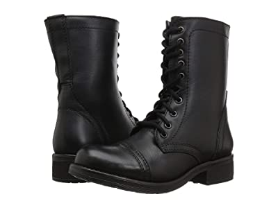 Steve Madden Troopa2.0 Combat Boot (Black Leather) Women