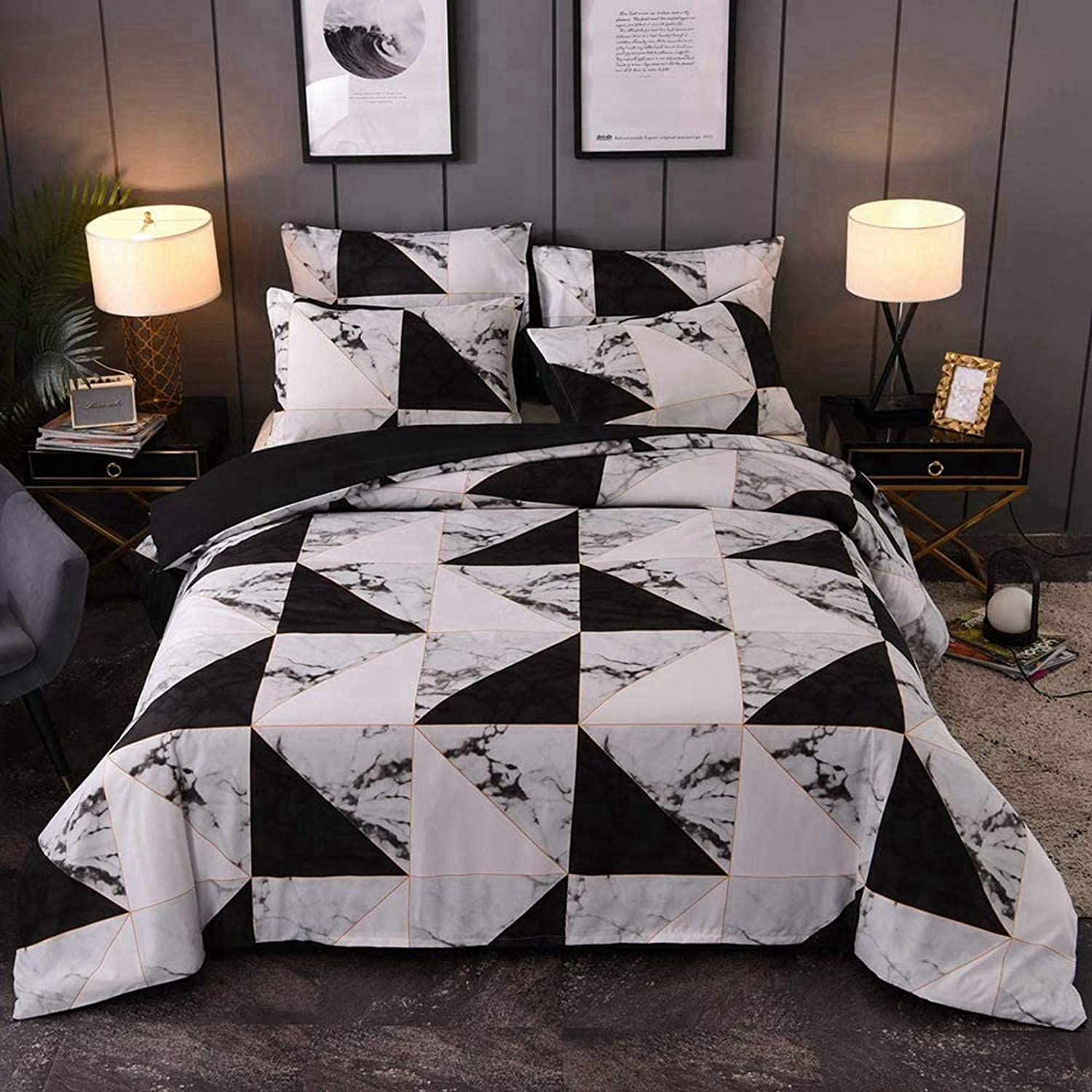 Inexpensive Marble Pattern Bedding Duvet Fees free Cover Set ?White Grey Patter