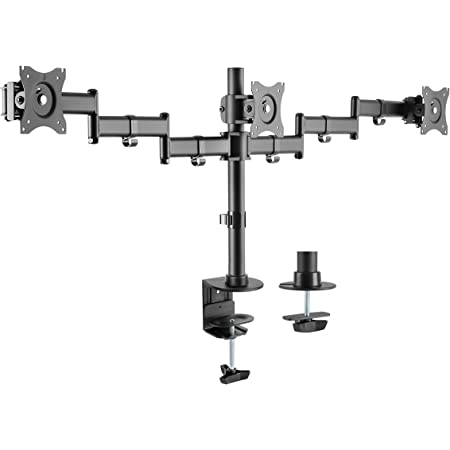 """Rocelco Premium Triple Monitor Desk Mount - VESA Pattern Fits 13"""" - 27"""" LED LCD Flat Computer Screen - Three Articulated Full Motion Adjustable Arms - Grommet and C Clamp - Black (R DM3)"""