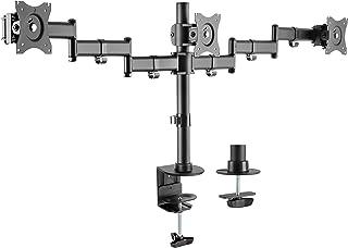 "Rocelco Premium Triple Monitor Desk Mount - VESA pattern Fits 13"" - 27"" LED LCD Flat Computer Screen - Three Articulated F..."
