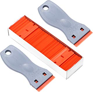 Gydandir 2PCS Plastic Razor Scrapers Knife & 100 PCS 1-1/2 inch Replaceable Double Edge Plastic Razor Blades for Removing Labels Stickers Decals and Auto Window Tint
