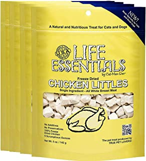 LIFE ESSENTIALS BY CAT-MAN-DOO Freeze Dried Chicken Littles for Dogs & Cats - 5 Ounces - Grain Free Treat - 4 Pack