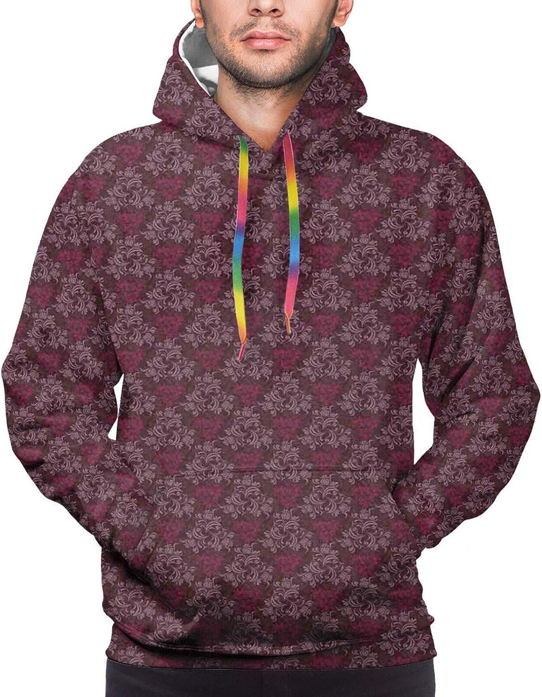 TENJONE Men's Hoodies Sweatshirts,Ornamental Ribbon with Colorful Egg Pattern Happy Easter Quote Festive Arrangement