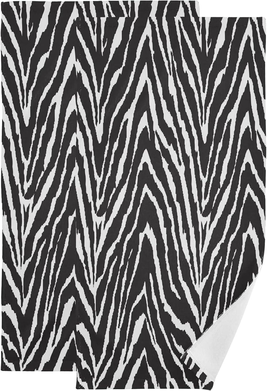 ALAZA Black and White Zebra Print Hand Dec unisex Towels Soft Max 90% OFF Absorbent
