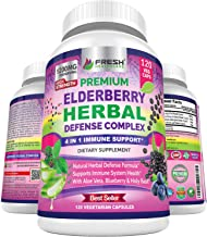 Premium Elderberry Capsules 1200mg Complex - 4 in 1 Immune Support Supplement with Aloe Vera, Blueberry & Holy Basil - Non...