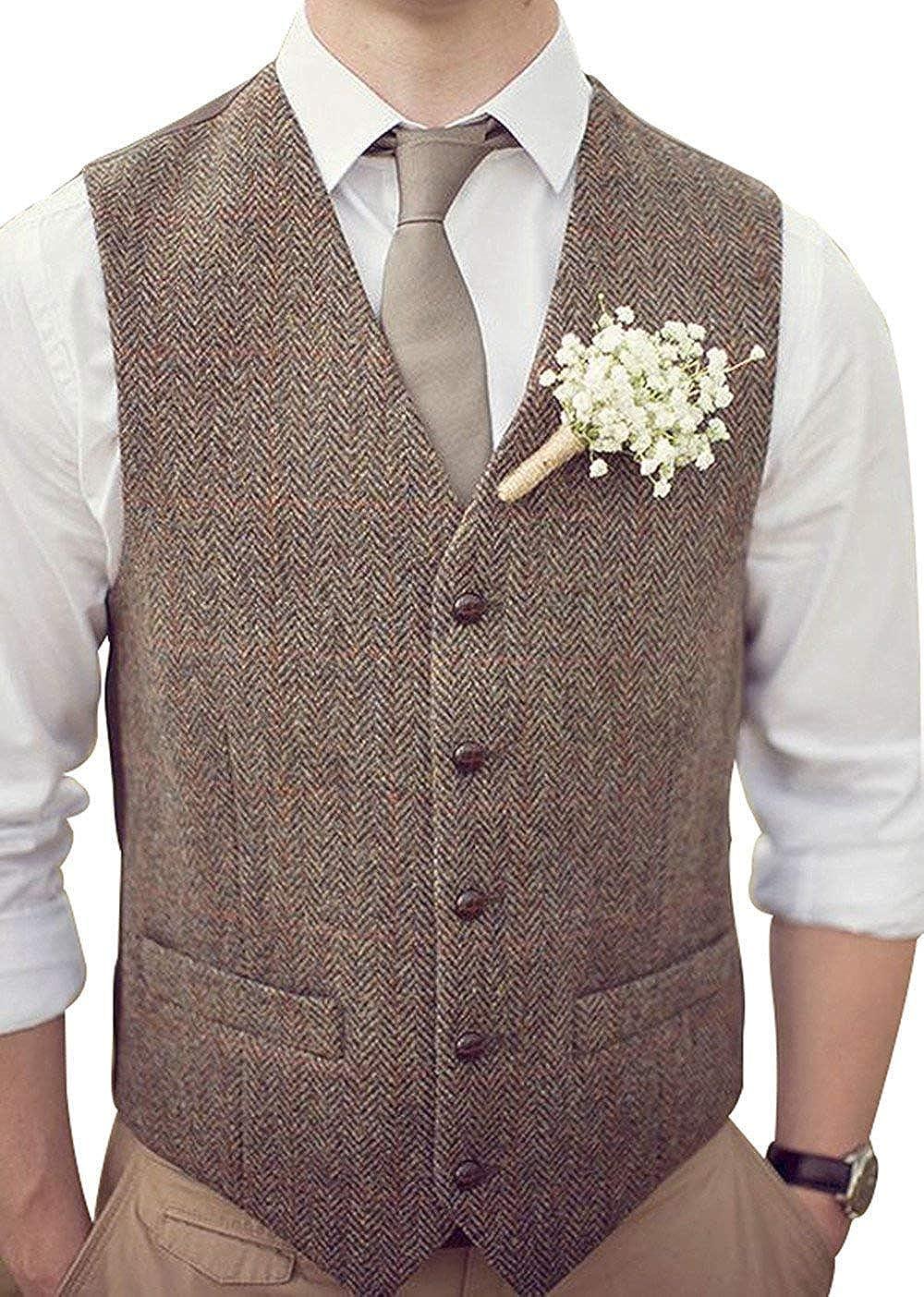 Gentlmen Button Down Wool//Tweed  Waistcoat  Men/'s Sleeveless Vest Formal Suit