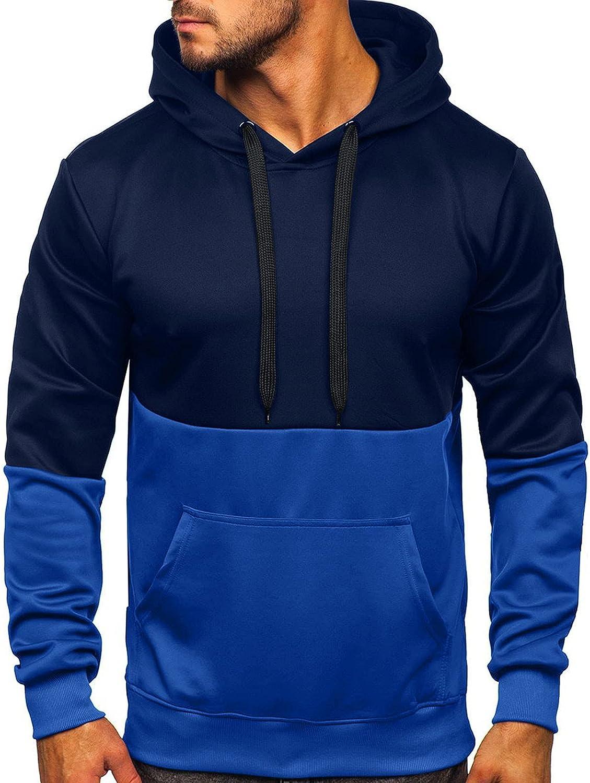 Men's Hoodies Fashion Athletic Hoodies Colorblock Sport Sweatshirt Winter Long Sleeve Pullover Drawstring Tops