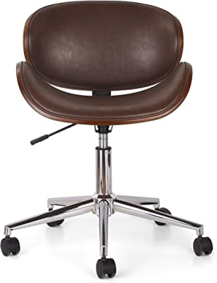 Christopher Knight Home Dawson ARMLESS Office Chair, Dark Brown + Chrome + Walnut