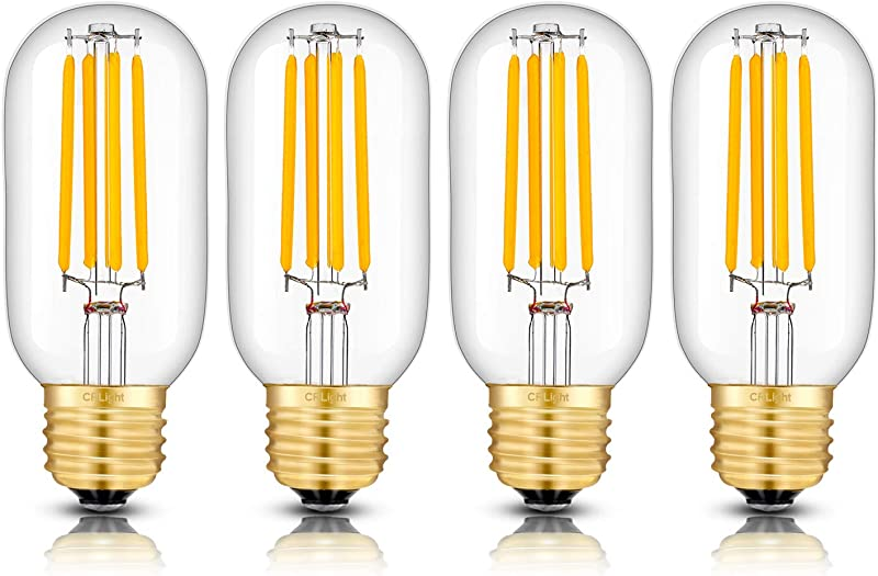 CRLight 5W LED Tubular Bulb 3000K Soft White Glow 55W Equivalent 550 Lumens E26 Base Antique Edison Style T45 Clear Glass Dimmable LED Filament Light Bulbs Pack Of 4