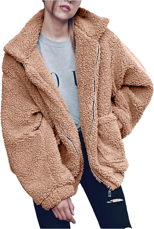 MINGE Women's Coat Casual Lapel Fleece Fuzzy Faux Shearling Zipper Coats Warm Winter Oversized Outwear Jackets