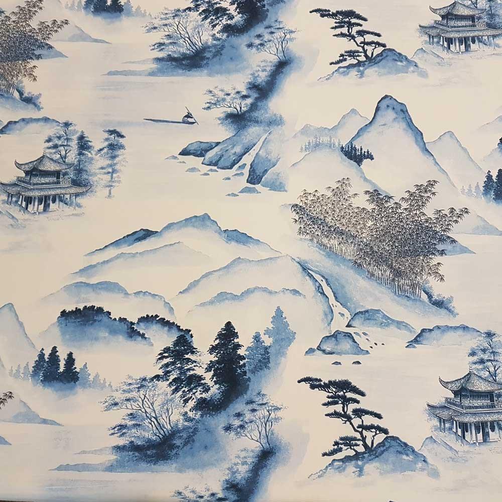 Tela tela de algodón algodón Japón Azul Tinta Paisaje tusch Pintura Pagoda Japonés: Amazon.es: Hogar