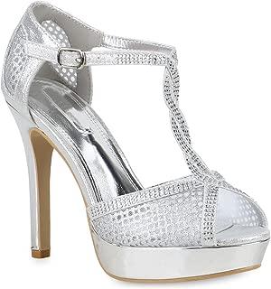 Stiefelparadies Damen Plateau Sandaletten mit Pfennigabsatz Strass Metallic Hochzeit Abiball Flandell