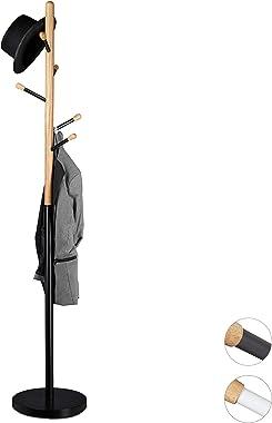 Relaxdays Porte-manteaux design sur pied bois et métal support pour manteaux vestes entrée couloir HxlxP: 180 x 34 x 34 cm, n