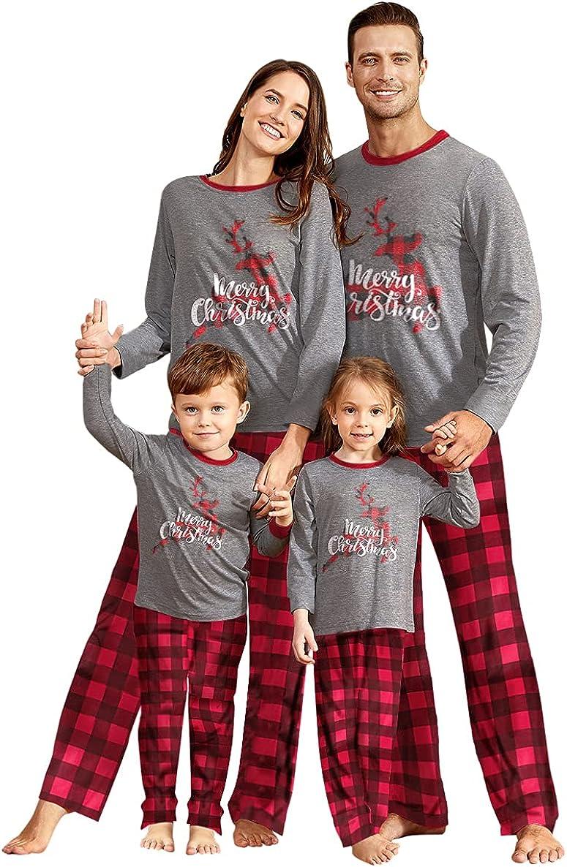 IFFEI Matching Family Pajamas Sets Christmas PJ's Sleepwear Printed Top with Plaid Bottom